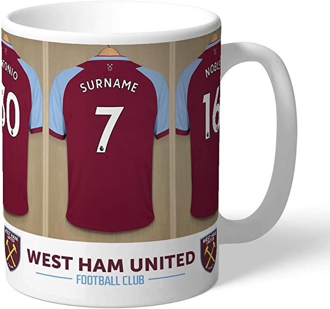 Official Personalised West Ham United FC Dressing Room Mug