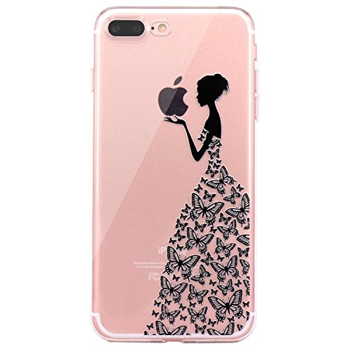 iPhone 7 Plus Case, iPhone 8 Plus Case, JAHOLAN Beautiful Clear TPU Soft Case Rubber Silicone Skin Cover for Apple iPhone 7 Plus/iPhone 8 Plus - Black Cute Butterfly Girl
