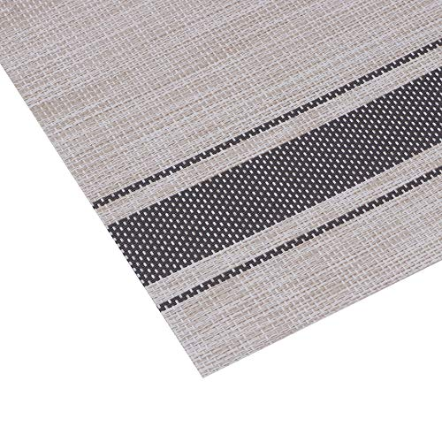 Millie Home Placemats for Dining Table Vinyl Heat Resistant Wipeable Placemat Non-Slip Washable PVC Kitchen Place Mats Set of 6,Gray Stripe by Millie Home (Image #3)