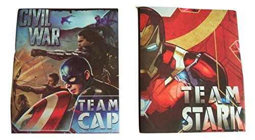 - Marvel Captain America Civil War Set of 2 Poly Folders ~ Whose Side are You On (Team Cap, Team Stark; Two Pocket Folders with Prongs)