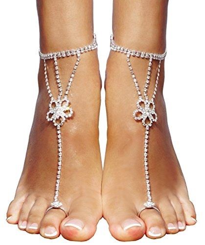 Bienvenu Women Anklet Bracelet Clear Crystal Bead Rhinestone Beach Barefoot Sandals Toe Ring,Sliver_3