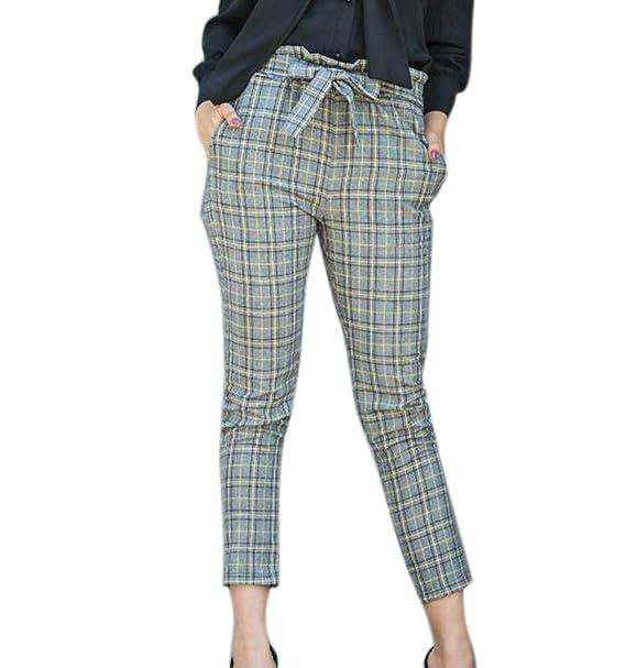 e2cab55320 Pantalones Casuales de Mujer Pantalones a Cuadros con cinturón  Amazon.es   Ropa y accesorios