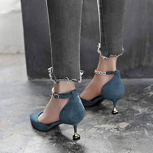 Yukun zapatos de tacón alto Las Mujeres De Tacón Alto Bien con La Princesa Puntiaguda De Verano Y Las Lentejuelas De Cristal Salvaje De Otoño De Las Mujeres De Fiesta De Zapatos, 38, Blanco Blue