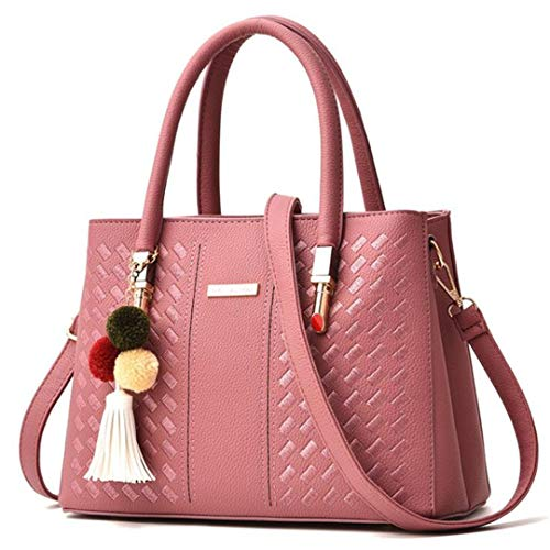 Rubber Pendant Red Ladies Woven with Handbag Shoulder Pu Bag Color 8 81vqzz