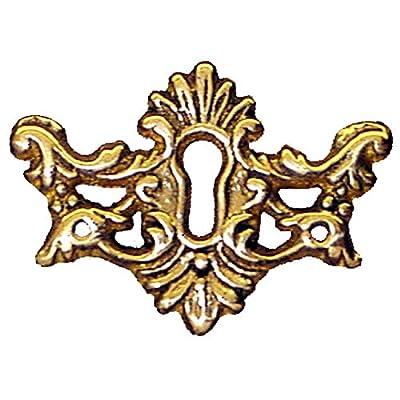 E-11s Victorian Cast Brass Keyhole Escutcheon Antique Reproduction + Free Bonus (skeleton Key Badge)