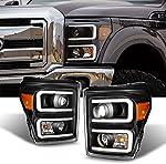 For F-Series SuperDuty Pickup Truck Black Bezel Dual LED Tube Projector