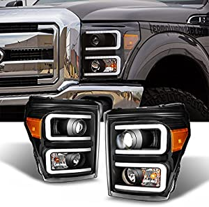 For F-Series SuperDuty Pickup Truck Black Bezel Dual LED Tube Projector Headlights Replacement