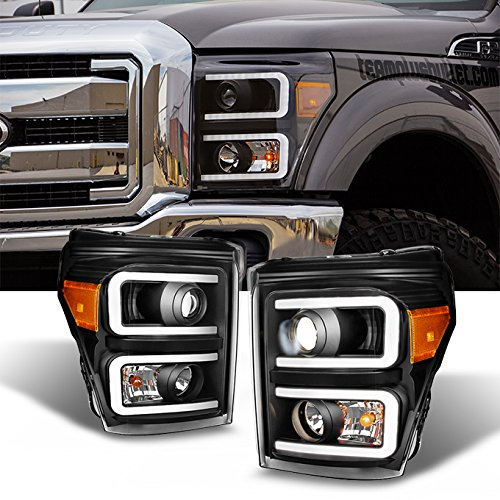 For F-Series SuperDuty Pickup Truck Black Bezel Dual LED Tube Projector Headlights ()