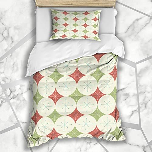 Ahawoso Duvet Cover Sets Twin 68X86 Christmas Stars Diamonds Pattern Holidays Abstract Atomic Circles Disco Geometric Microfiber Bedding with 1 Pillow Shams