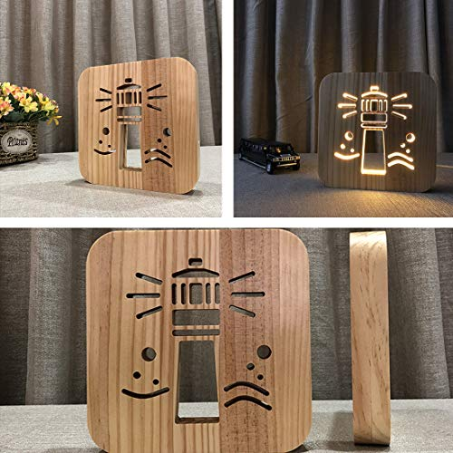 Wooden Lighthouse Led Lamp for Children, LeKong 3D Wooden Carving Patterns, USB Plug in, Gift for Birthday & Friendship, Fit for Halloween & Christmas Decoration, 2018 New by LeKong (Image #6)