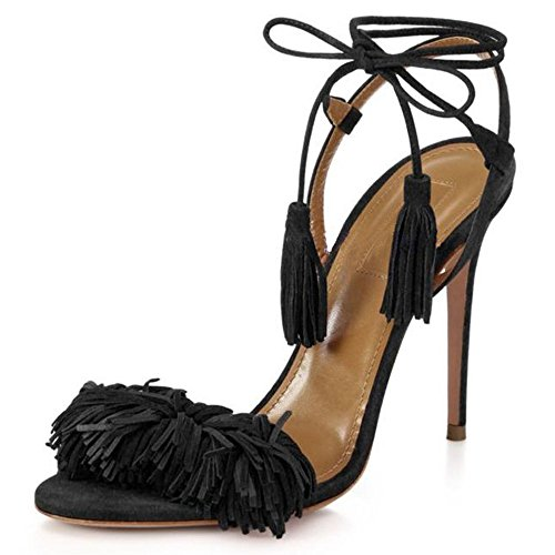H fringe pompes à femmes Noir uBeauty lacets talons sandales pour Chaussures cravates à hauts Stiletto tassel PxTgwaq6pn