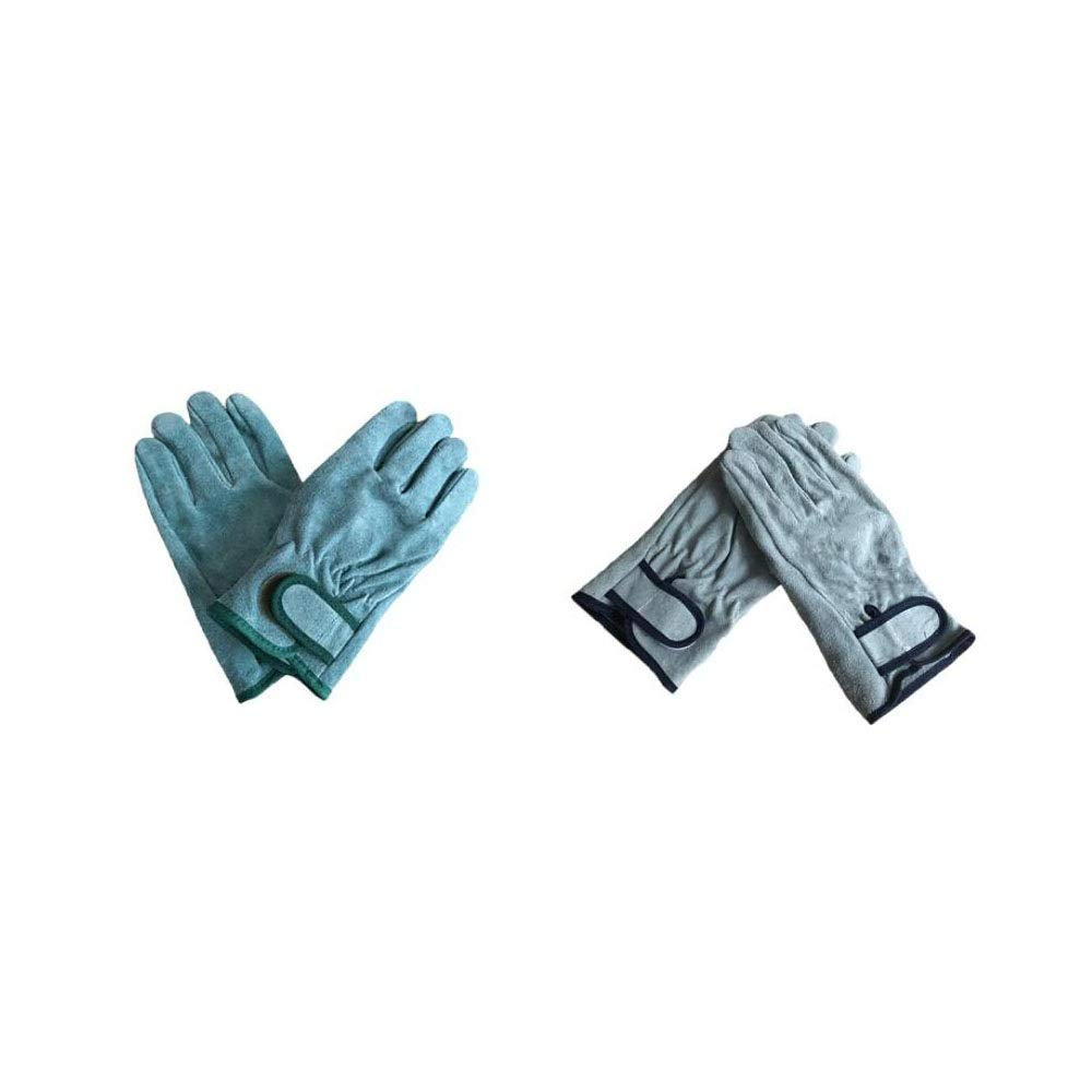 Protective Gloves,Welding Gloves,Cowhide Material, Mitts For Oven-Green/grey (Color : Gray)