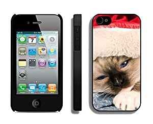 Best Buy Sleepy Red Hat Christmas Cat Black TPU Case For Iphone 4s,Apple Iphone 4 Case