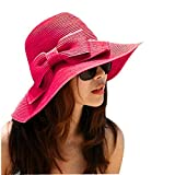 Aisa Women's Foldable Bowknot Floppy Straw Sun Hat Wide Brim Beach Sun Visor Hat Cap Rose Red