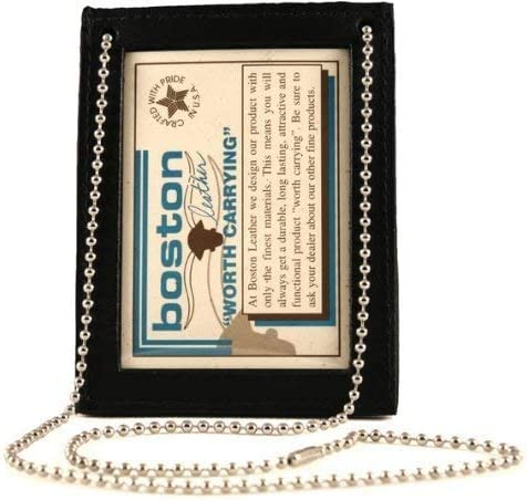 Black Boston Leather 5982-1 Neck Chain Double ID Holder