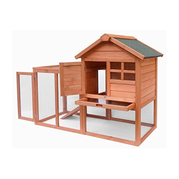 Merax Wooden Pet House Rabbit Bunny Wood Hutch House Chicken Coops Chicken Cages Rabbit Cage (Rabbit Hutch-NO.5)