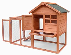 Merax Natural Wood House Pet Supplies Small Animals House Rabbit Hutch