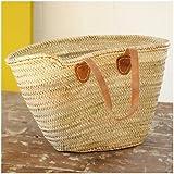 Moroccan Market Basket - Flat Tan Leather Handles - W58 D18 H34 -