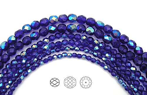 4mm (102) Cobalt Blue AB coated, Czech Fire Polished Round Faceted Glass Beads, 16 inch strand