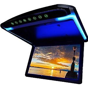 高画質12.1インチデジタルフリップダウンモニター LEDバックライト液晶 HDMI MicroSD対応 FMトランスミッター機能 12V専用[F1230BH]