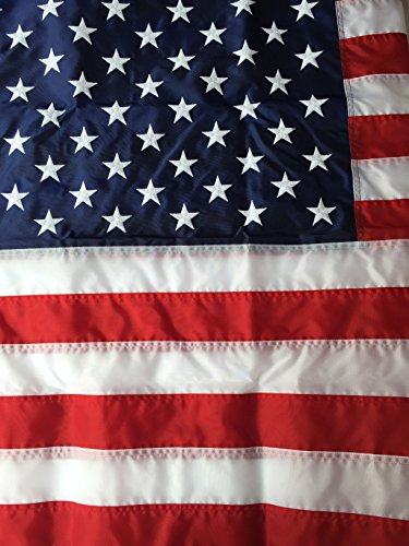 18' Nylon Outdoor Flag (12ftx18ft Best Commercial Grade Nylon American Flag 12'x18' US Flag Made in the USA Embroidered Stars Sewn Stripes by Flags Poles And More)