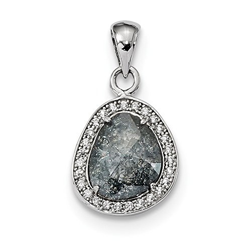 Jewelry Pendants & Charms Fancy Sterling Silver Rhodium-plated Gray Ice CZ Pendant