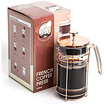 Cantankerous Chef Rose Gold French Press - Large 8 Cup Coffee Press - Best Coffee Maker - Elegant Original Finishing - Sturdy Small Mesh Filter Borosilicate ...