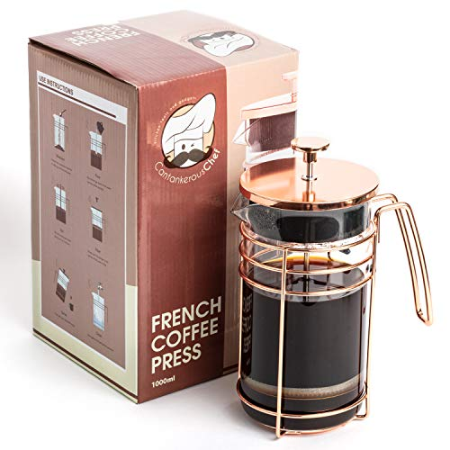 Cantankerous Chef Rose Gold French Press - Large 8 Cup Coffee Press - Best Coffee Maker - Elegant Original Finishing - Sturdy Small Mesh Filter Borosilicate Glass With 3-part Stainless -