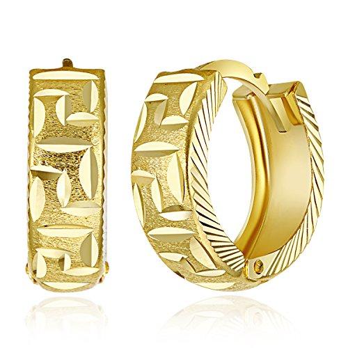 Gold Polished Greek Key - Wellingsale Ladies 14k Yellow Gold Polished 5mm Greek Key Huggies Hoop Earrings (15mm Diameter)
