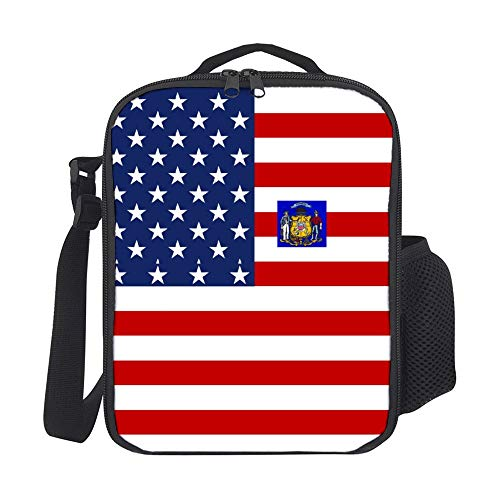 SARA NELL Kids Lunch Backpack American Wisconsin Flag Lunch Bag Lunch Box Cooler Meal Prep Lunch Tote With Shoulder Strap For Boys Girls Teens Women Adults