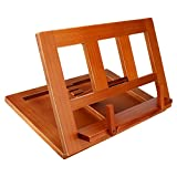 LIKIQ Wooden Book Stand Holder for Reading Drawing Display textbooks Cookbook Recipe Laptop, Foldable, Lightweight, Portable & Easy Storage Stander