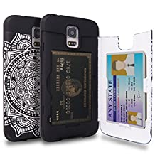 Galaxy S5 Case, TORU [S5 Wallet Case Pattern Mandala] Protective Slim Fit Dual Layer Hidden Credit Card Holder ID Slot Card Case with Mirror for Samsung Galaxy S5 / S5 Neo - Dreamcatcher