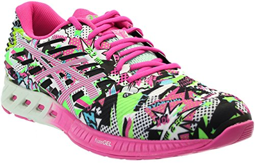 ASICS Women's Fuzex Running Shoe, White/Pink Glow/Soothing Sea, 9 M US