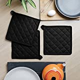 Kitchen Pot Holder, Set of 3, Solid, 100% Cotton, Eco Friendly and Safe, Heat Resistant Suitable for all House Hold Ovens, Size 8 X 8 Inch universal Design,
