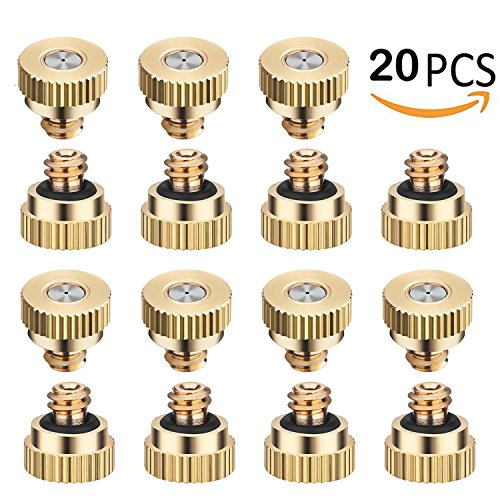 RESNSTAR 20 Pack Misting Nozzles Tees, Brass Spray Nozzles for Greenhouse Landscaping, Dust Control Mist Nozzle Sprinkler for Outdoor Cooling System 0.012 Orifice (0.3 mm) 10/24 UNC (Brass Spray Head)
