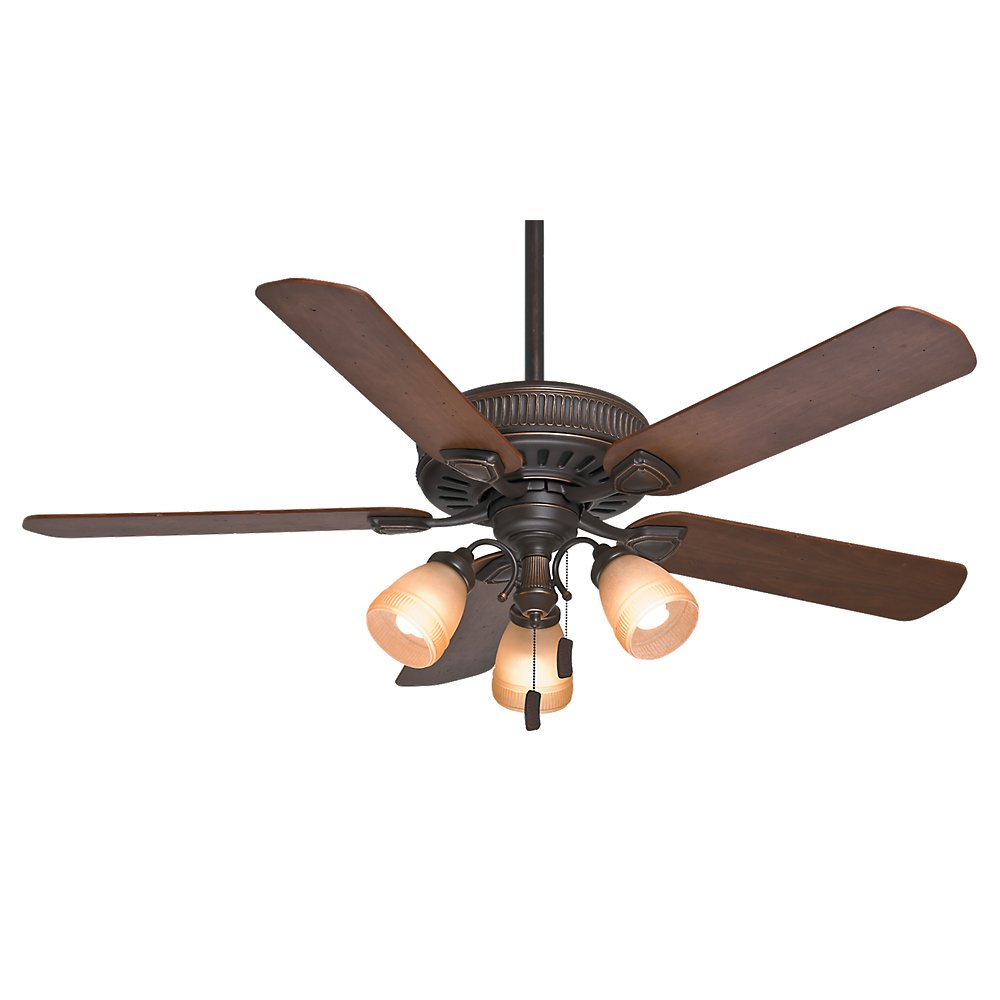 Casablanca 54006 Ainsworth Gallery 54 Inch 5 Blade 3 Light Ceiling Fan Onyx Bengal With Distressed Walnut Dark Blades And Toffee Glass Globes