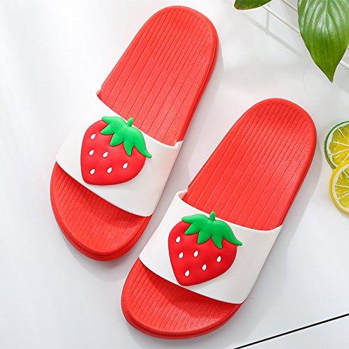 le scivolo uomini Frutto cartoon fragole per home donne soggiorno con pantofole bagno cool un fankou 40 e bellissimo estate anti di coppie pantofole indoor F0zpwRgq