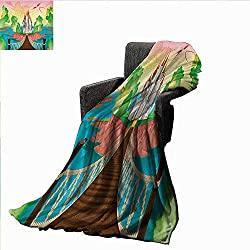 Anyangeight Children Custom Design Cozy Flannel Blanket Princess Castle Above Wooden Bridge and Phoenix Bird Fairy Dream World Girls Image,Super Soft and Comfortable,Suitable for Sofas,Chairs,beds