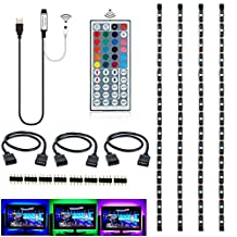 Topled Light RGB TV PC LED Strip Light Kit 4x50cm with 44Keys Remote Controller for HDTV Laptop Notebook (USB Black Panel Kit)