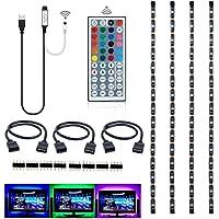 AIMELED USB LED Strip Light 5050 RGB TV Backlight Bias Lighting Tape Lights Waterproof 5V Background Lighting with 44 Key Remote for TV PC Case Back Lighting,Under Counter Light - 50cm/1.64ft x 4