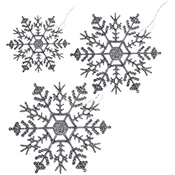 42 Assorted Sized Silver Glitter Christmas Snowflakes Ornaments 4 inch 5 inch 6 inch snowflakes Lace Hanging Craft Felt White Snowflake Snow Flake Xmas Tree Decorations Party