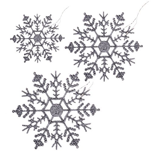 42 Assorted Sized Silver Glitter Christmas Snowflakes Ornaments 4 inch 5 inch 6 inch snowflakes Lace Hanging Craft Felt White Snowflake Snow Flake Xmas Tree Decorations Party (Tree Christmas Decorations Craft)
