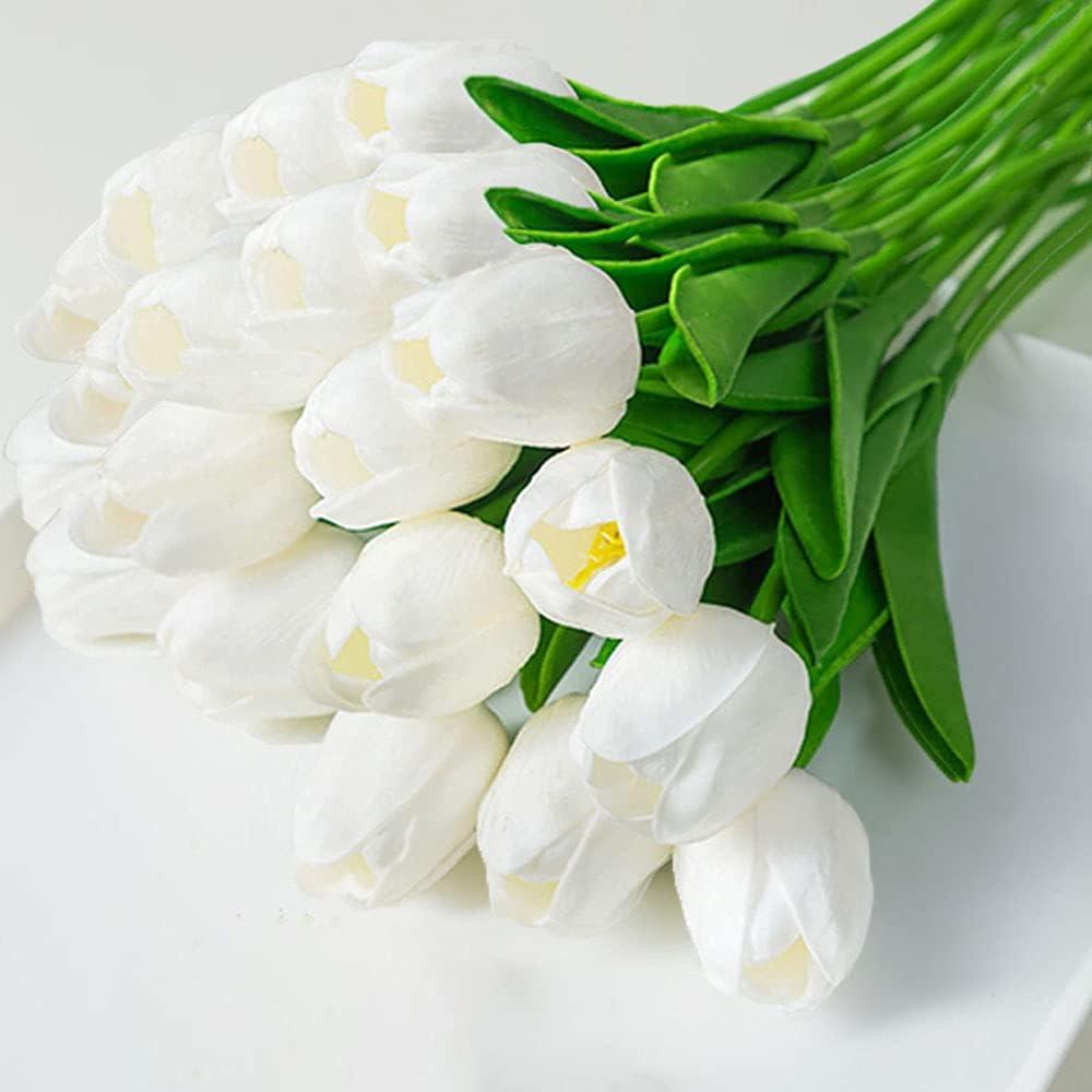 20pcs Artificial Tulips PU Touch Single Stem Fake Flower Bouquet Arrangement for Home Party Wedding Decoration (White)