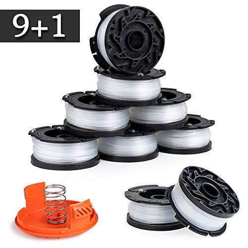 "FutureWay String Trimmer Replacement Spool Line 0.065"" GH900 LST201 Compatible with Black Decker AF-100, Weed Eater String Autofeed RC-100-P Cap, Cordless Trimmer Line 30ft, 9 Spool + 1 Cap + 1 Spring"