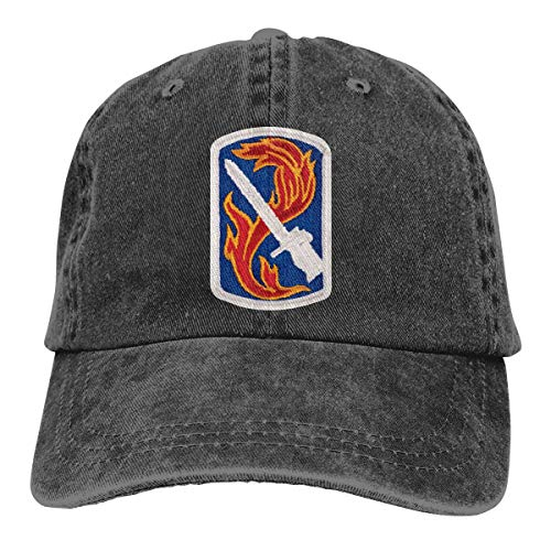 198TH Infantry Brigade Patch Embroidery Adjustable Washed Twill Baseball Cap Dad Hat Black