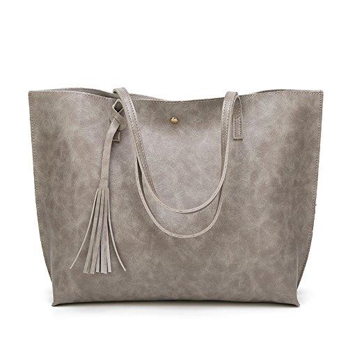 Mefly La Versión Coreana De Las Mujeres De Moda Bolso Nuevo Bolso Bolso Bolso Casual Simple Borla Gris Claro Light grey
