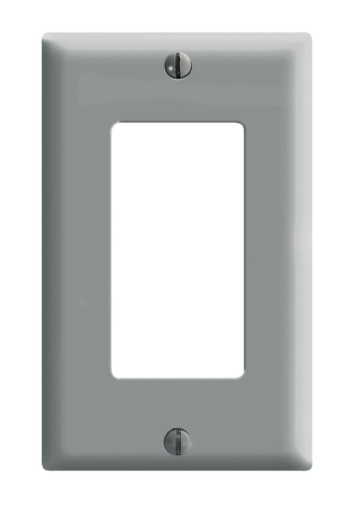 Leviton 80401-GY 1-Gang Decora/GFCI Device Decora Wallplate, Standard Size, Thermoset, Device Mount, 25-Pack, Gray