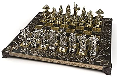Marinakis Handmade Don Quijote Metal Chess Set In Wooden Box