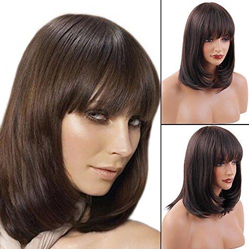 Wig White Hot (BLONDE UNICORN Wonderful Hot Bob Wigs Human Hair Wigs with Bangs for Women)