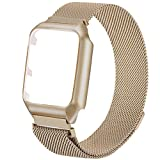 For Apple Watch Band with Metal Screen Protector Case, Magnetic Milanese Loop Stainless Steel Replacement Wrist Band Strap for Apple iWatch Series 3 2 1 Sport Edition Hermes Nike + (Gold, 38MM)